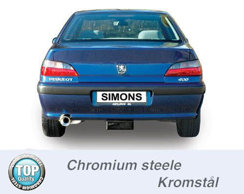 simons chrome steel exhaust system 1x100 round peugeot 406 saloon