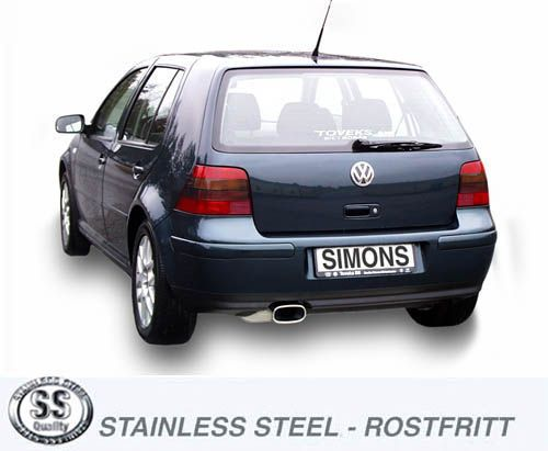 Simons Stainless Steel Exhaust System 85150 Mm Oval Vw Golf Iv Turbo 18t19tdi19sdi Model 96: Vw Golf 4 Exhaust At Woreks.co
