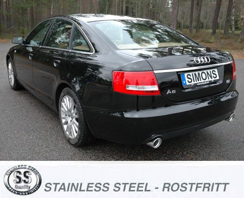 Simons Duplex Stainless Steel Exhaust System 1x100 Mm Round Audi A6: 2006 Audi A6 Exhaust System At Woreks.co